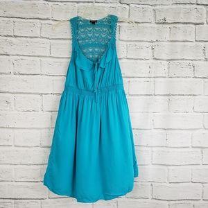 Torrid Turquoise Nylon Dress with Elastic torso